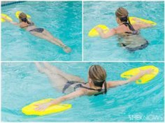 buy those cheap swimmer pads for little kids and then do this..(awesome exercises to do while hangin...