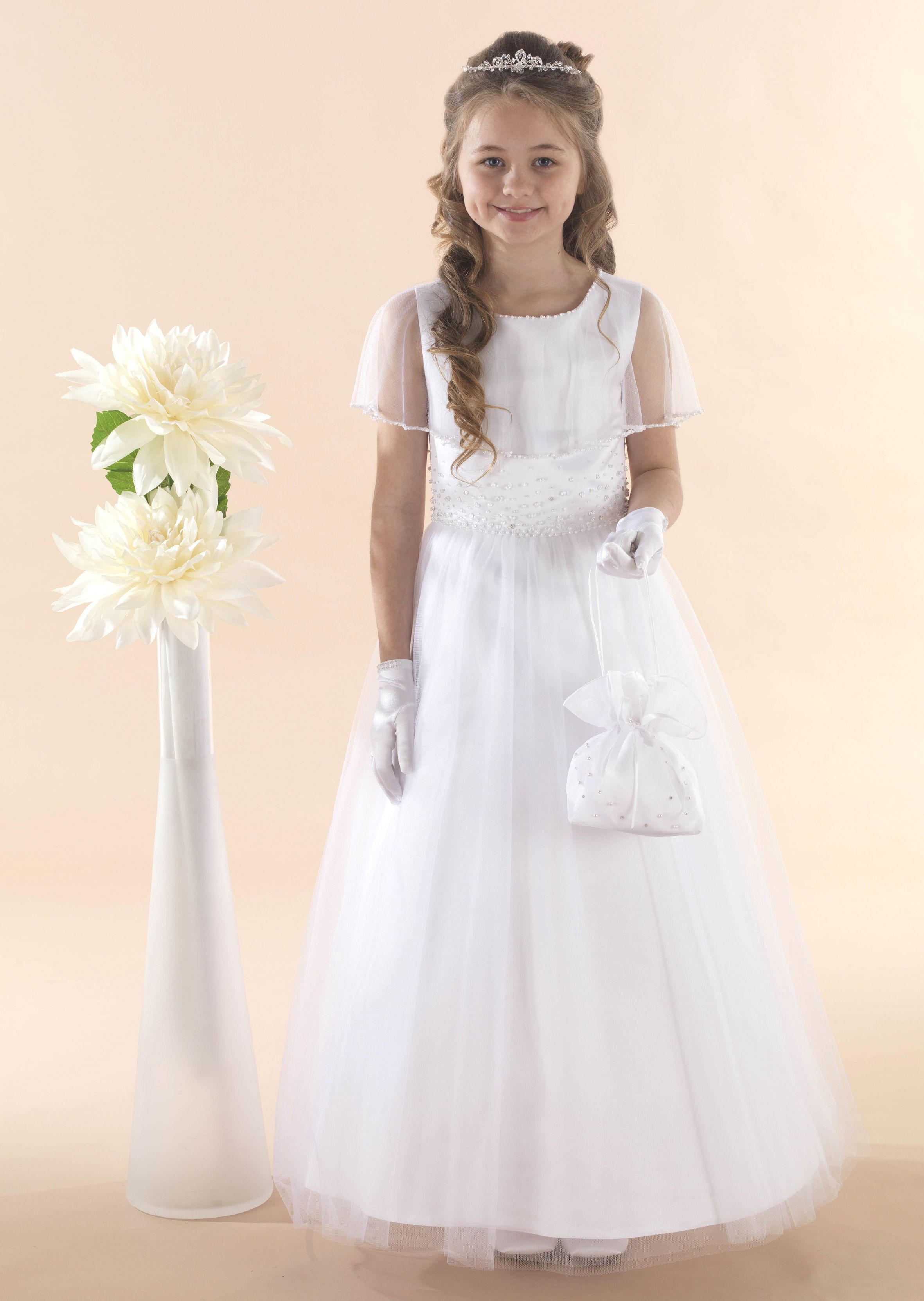 51829f6b853c Satin & Tulle Communion Gown with Tulle Cape