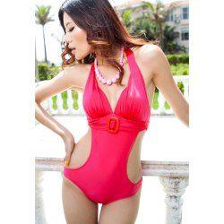 $32.18 Hot Deep V-Neck Belt Design Halter Spandex Onepiece Bikini Swimwear For Women