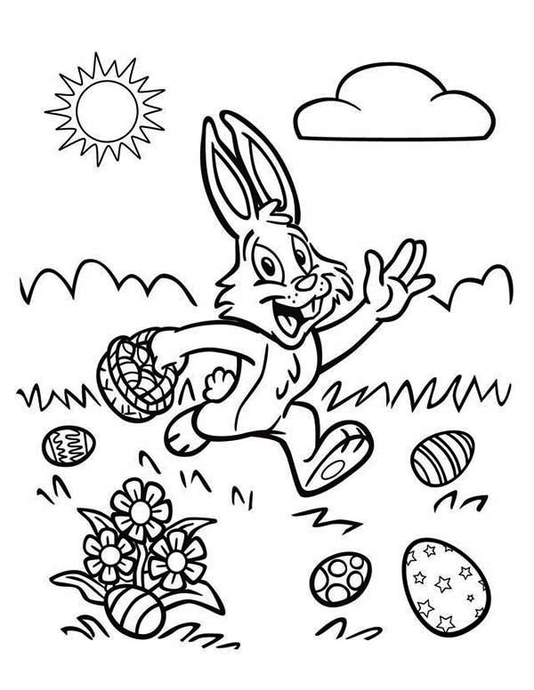 A Happy Easter Bunny Running On The Field Coloring Page Download Print Online Coloring Pages For Fr Happy Easter Bunny Coloring Pages Easter Coloring Pages