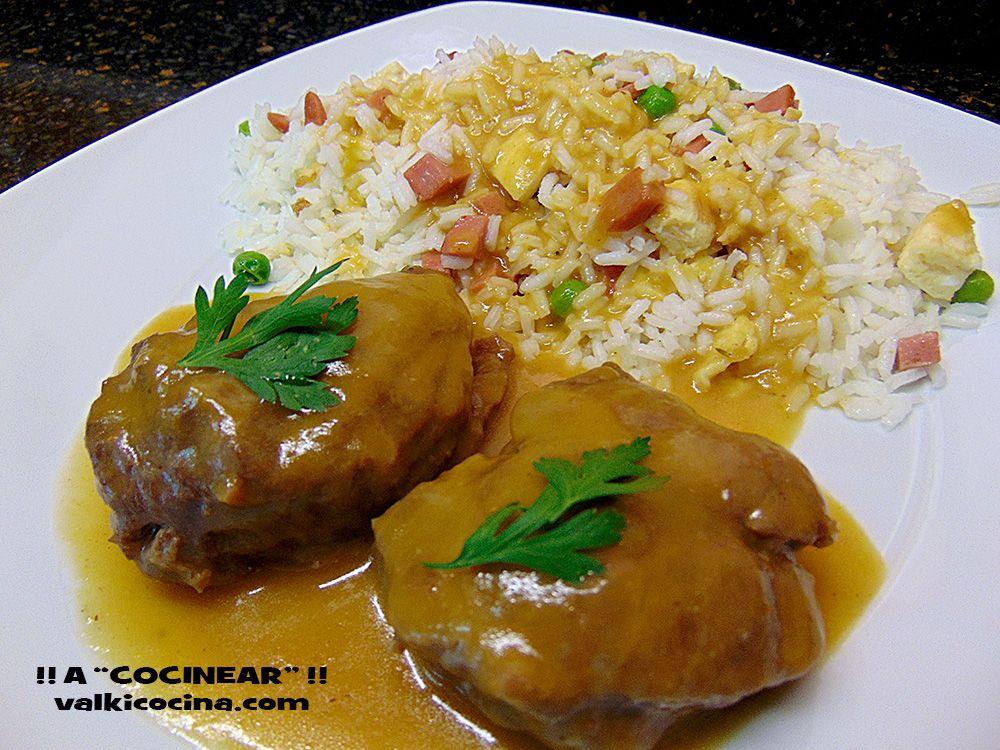 Carrilleras de Cerdo en salsa.Con arroz tres delicias