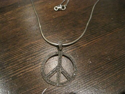45 vintage sterling silver marcasite peace sign pendant 16 45 vintage sterling silver marcasite peace sign pendant 16 necklace 925 retro ebay mozeypictures Image collections
