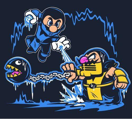 Get over here! #Mario #Nintendo #MortalKombat #Scorpion #Wario #SubZero #Gaming #Videogames #Comikaze http://www.comikazeexpo.com