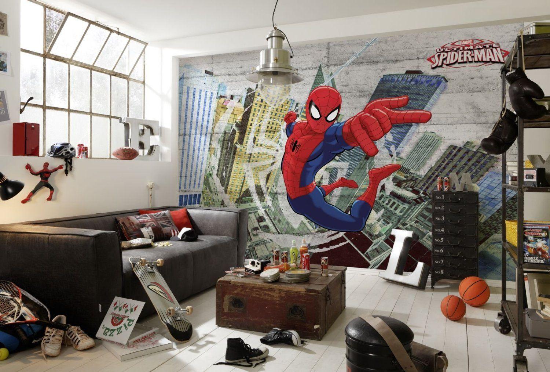 FOTOTAPETE Kinderzimmer Kinder- Tapete Photomural Spiderman Concrete ...