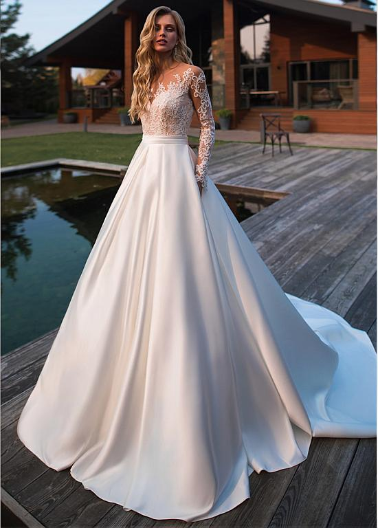 [221.50] Brilliant Tulle & Satin Jewel Neckline A-line Wedding Dresses With Lace Appliques & Belt & Pockets - magbridal.com.cn