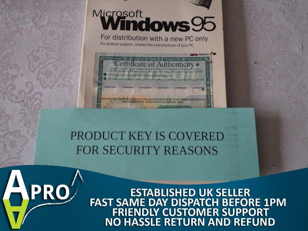 Original Microsoft Windows 95 Certificate Of Authenticity Uk