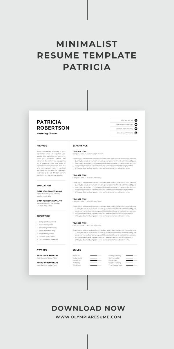 Professional 1 Page Resume Template Modern One Page Cv Word Mac Pages Minimalist Design Developer Designer Marketing Patricia Minimalist Resume Template Minimalist Resume Resume Template Professional