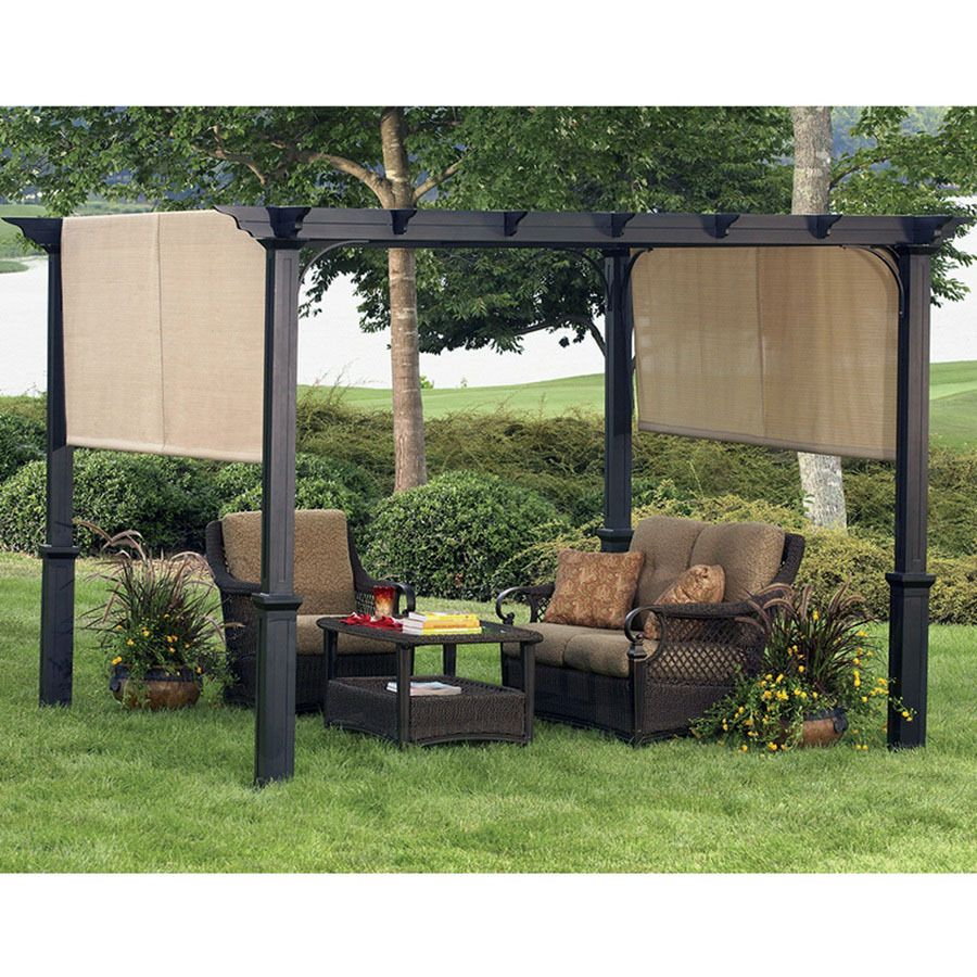 Solid roof pergola plans in addition park bench picnic table moreover - Shop Garden Treasures X Freestanding Square Pergola With Canopy At Lowe S Canada Find Our Selection Of Pergolas At The Lowest Price Guaranteed With Price