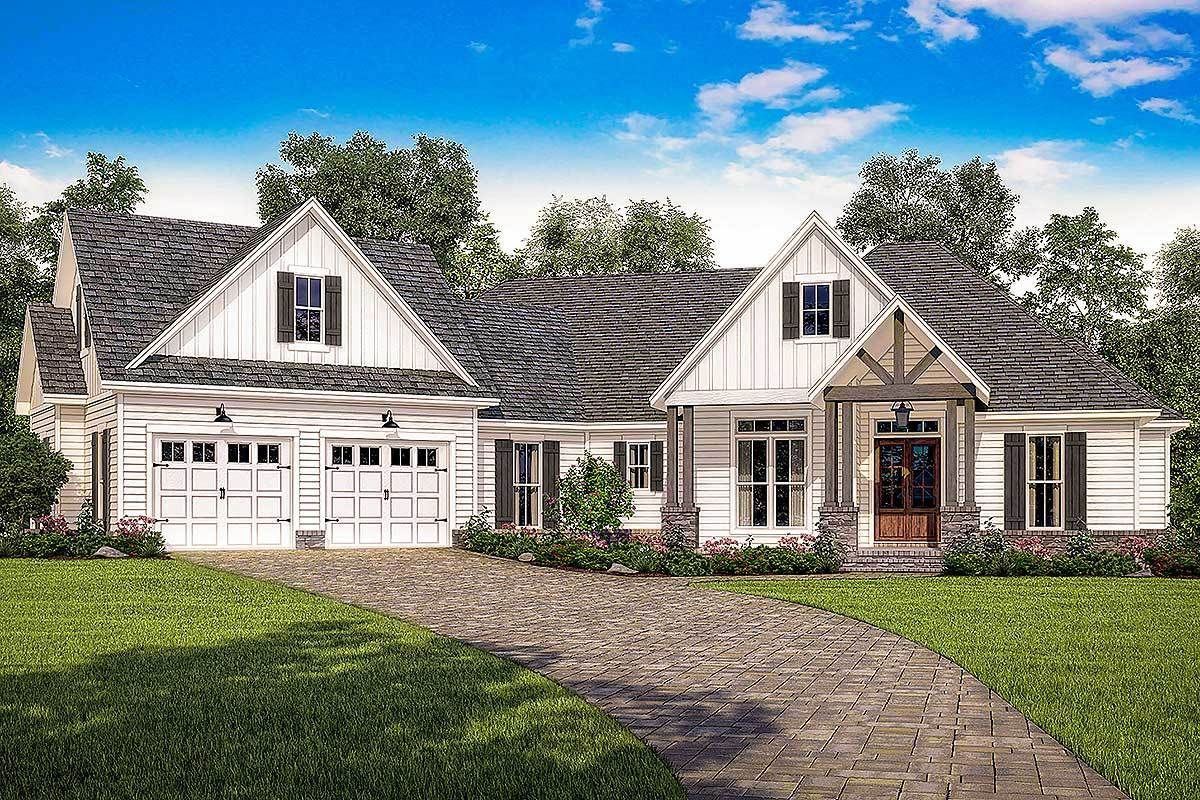 Contemporary Farmhouse Plan With Bonus Room Over The Garage   51774HZ |  Architectural Designs   House Amazing Ideas