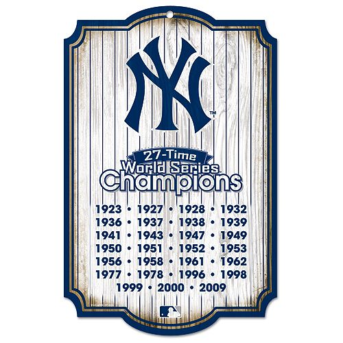 new york yankees 27time world series champions wood sign