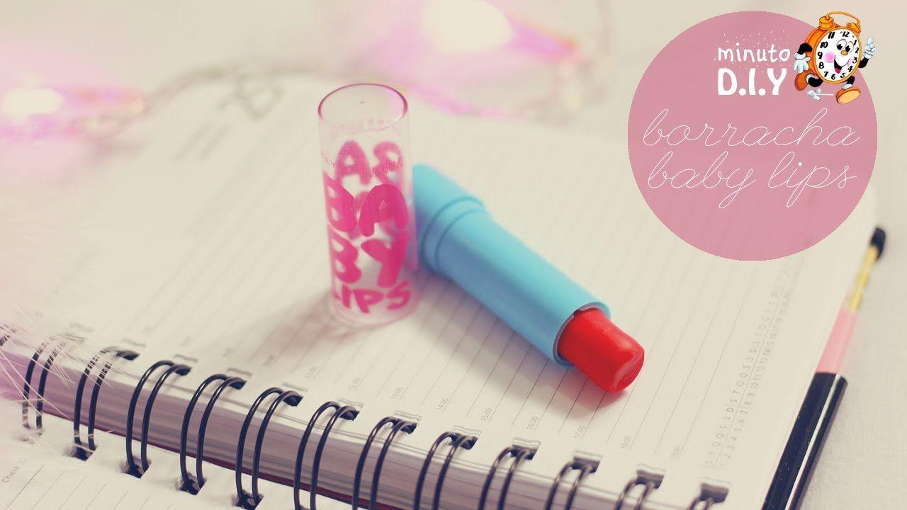 Minuto DIY - Borracha Baby Lips Faça você mesma uma borracha super linda com embalagem de baby lips para arrasar na volta às aulas. Ideal para quem adora makes. DIY fácil e rápido (Por: Carla Sant'Anna, Blog Burguesinhas)
