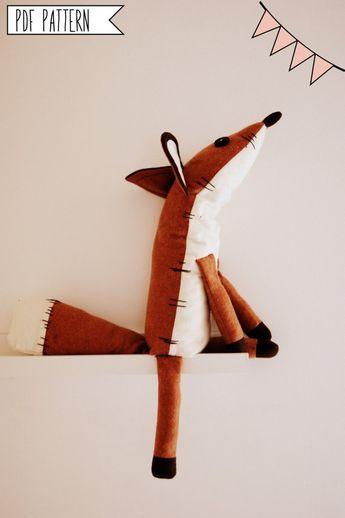 Pdf sewing pattern Fox Stuffed Animal -Fox plush toy pattern ...