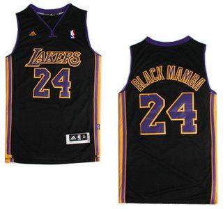 ca00d46a2bc Los Angeles Lakers Jersey  24 Kobe Bryant Black Mamba Nickname Black  Revolution 30 Swingman Jerseys