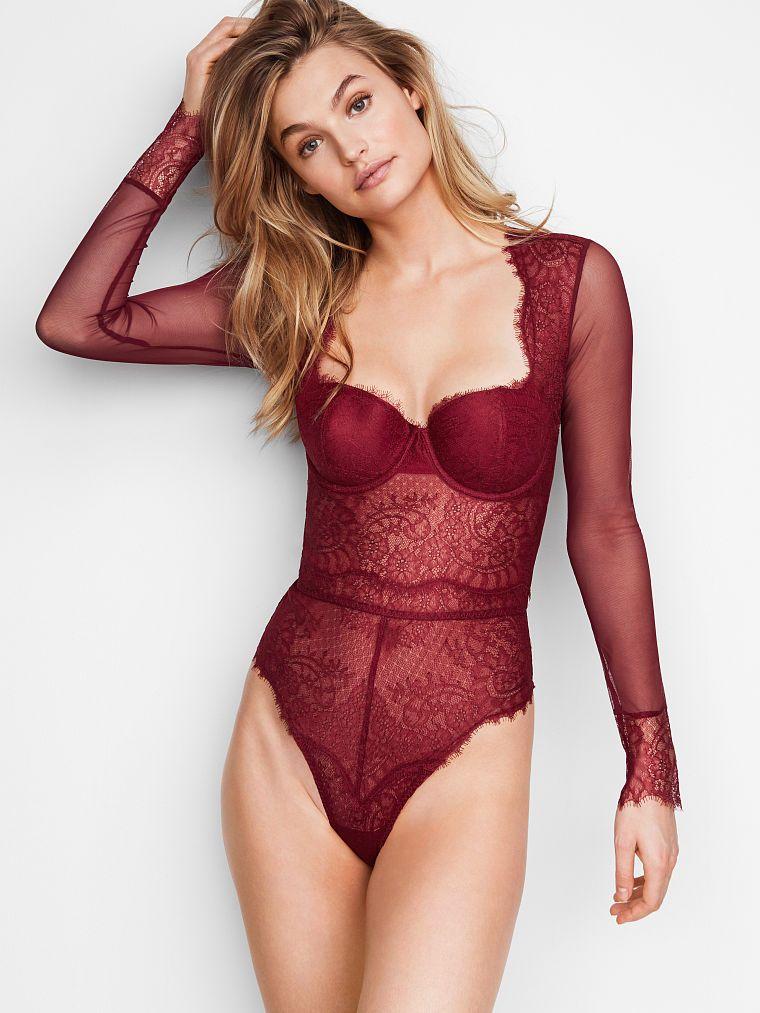 55a3addea76 Chantilly Lace Long-sleeve Teddy - Dream Angels - Victoria's Secret ...