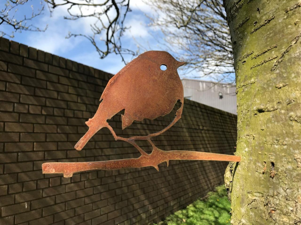 Robin /& Baby Silhouette Rusty Metal Bird Patina Garden Art Ornament Mild Steel