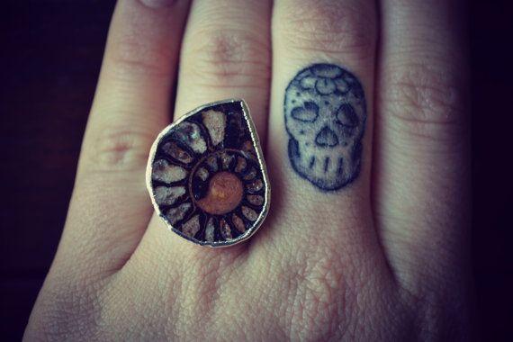 Size 8  /// AMMONITE Electroformed Gemstone Ring /// Silver