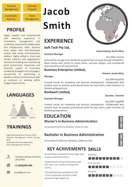 Map Resume Word Template Format Word Resume Templates Pinterest - how to format a resume in word