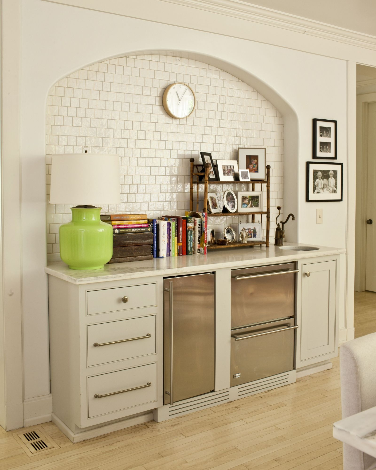 Small Drink Bar Turned Tiny Full Kitchen With A Butcher Block Over Two Burner Stove Where The Lamp Is And Replace Cooler Drawers An Oven