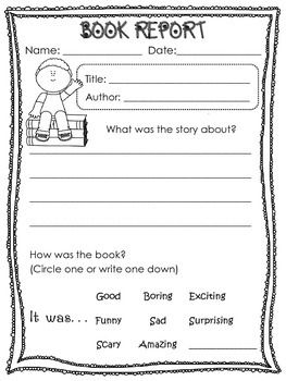 book report templates for kinder and first graders bookreview