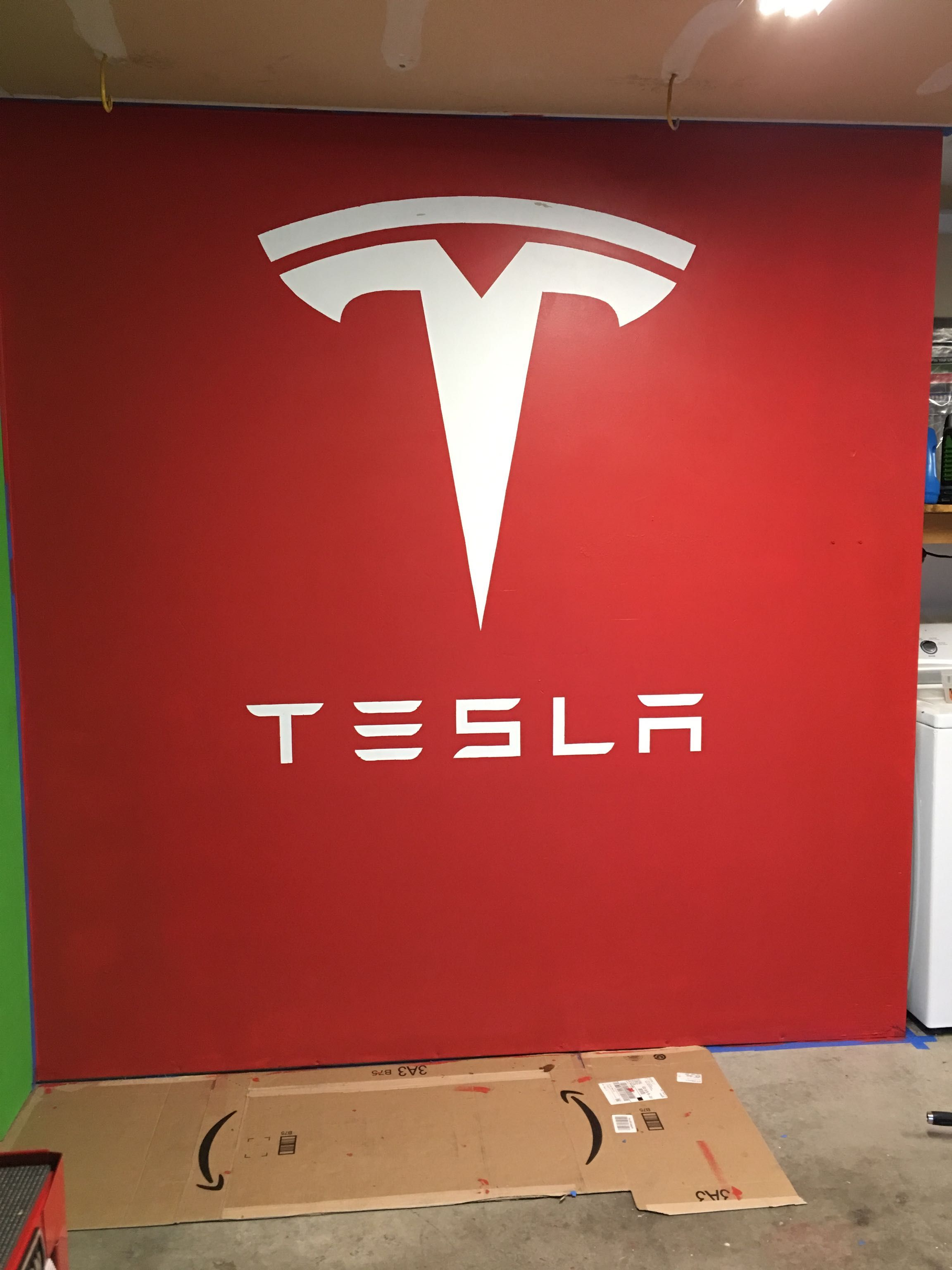 Garage wall painted now just waiting on the car #tesla #models