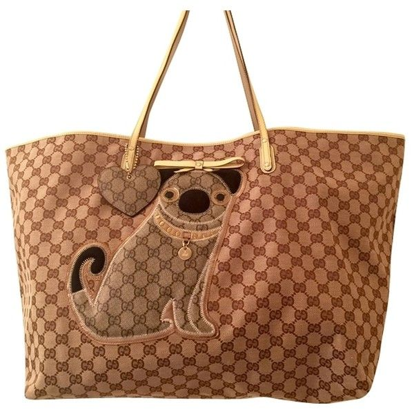 182f27d8d952 Pre-owned Gucci Pug Dog Large Canvas & Leather (212373) Beige Tote Bag