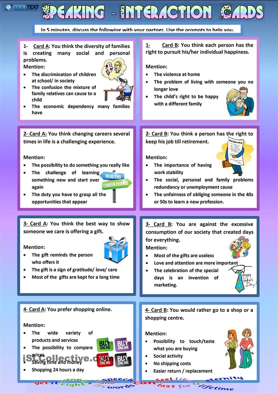 Speaking Interaction Cards Speaking Activities English Speaking Activities Conversational English