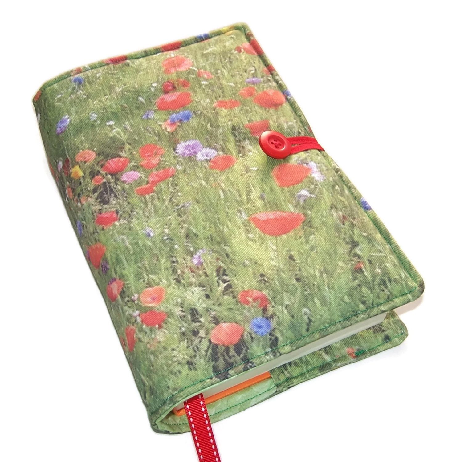 Handmade Large Bible Cover, Wild Flowers Poppy, Book Cover