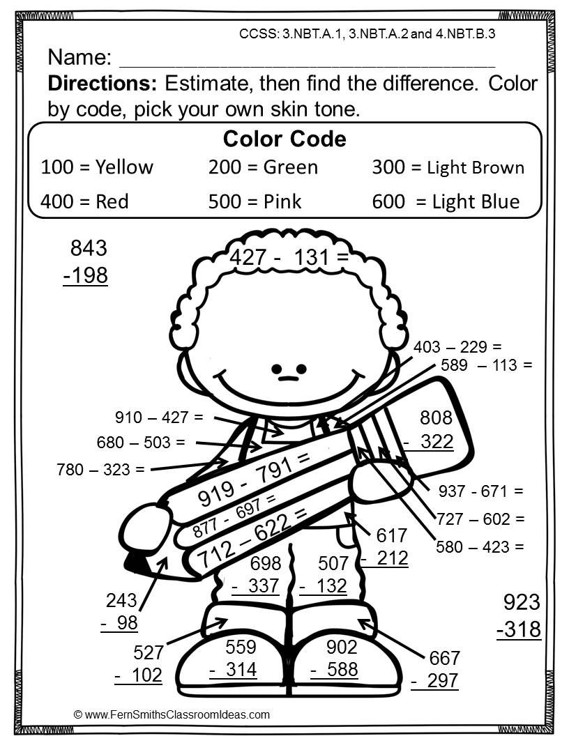 worksheet Color Math Worksheets 3rd grade go math 1 8 color by numbers rounding to estimate differences