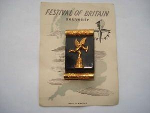 SCARCE-1951-FESTIVAL-OF-BRITAIN-SOUVENIR-EROS-PIN-BROOCH-ON-ITS-ORIGINAL-CARD