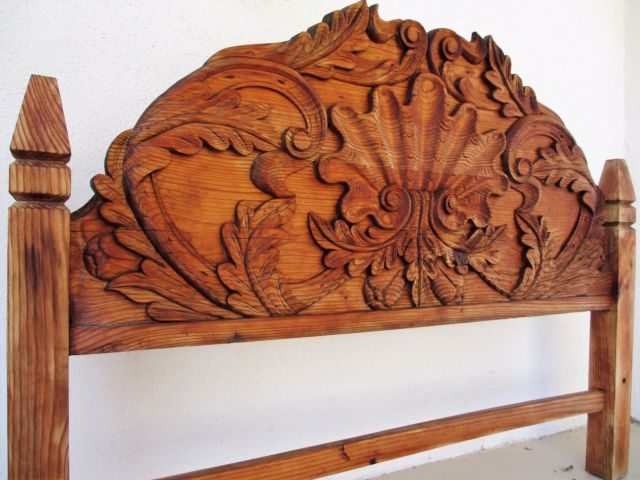 Vintage Rustic Hand Carved Mexican Twin Headboard 53 5 W X 40 H