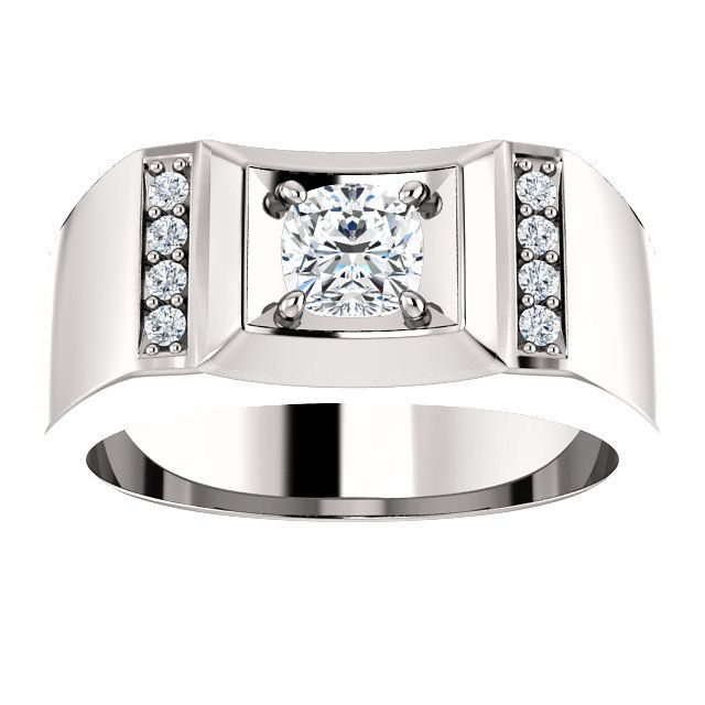 10kt White Gold 5mm Center Cubic Zirconia And 8 Accent Round Diamonds Cushion Men S Ring St9817 567 P Price 579 99 Diamonds Gold Ring Mensring Wh