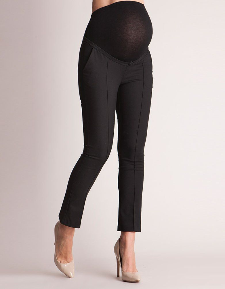 Tailored Black Cropped Maternity Pants