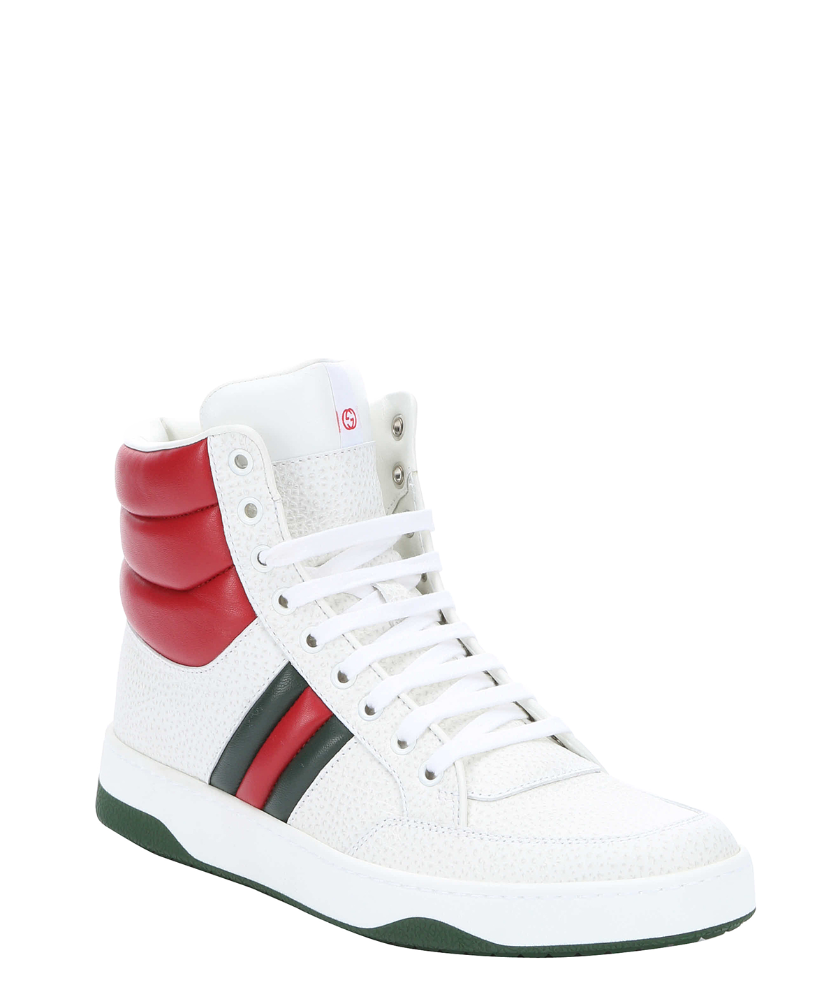 Gucci White And Red Lace-up High-top