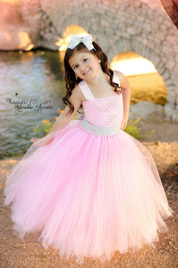 Rosa y plata flor chica vestido de diamantes de imitación de ...