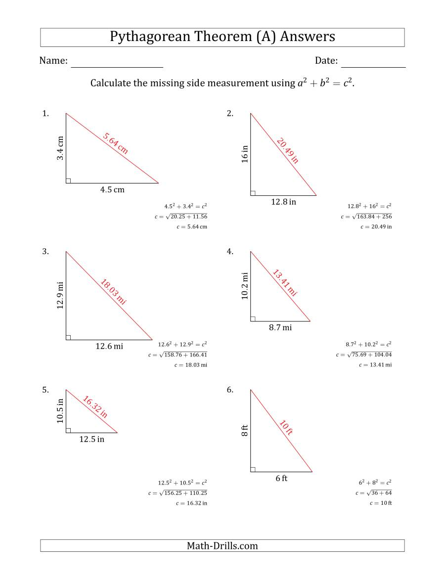The Calculate the Hypotenuse Using Pythagorean Theorem (No