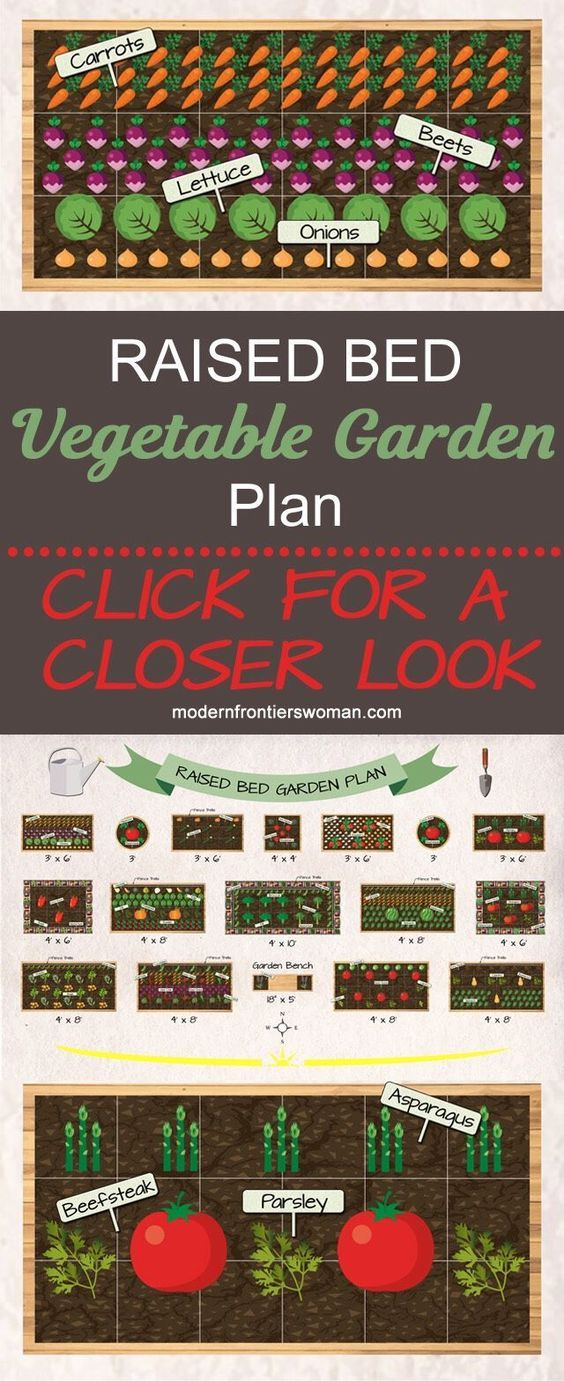 Click for an up close look at this potager design layout for a raised bed vegetable garden The detailed diagrams have great examples of companion planting and intercroppi...