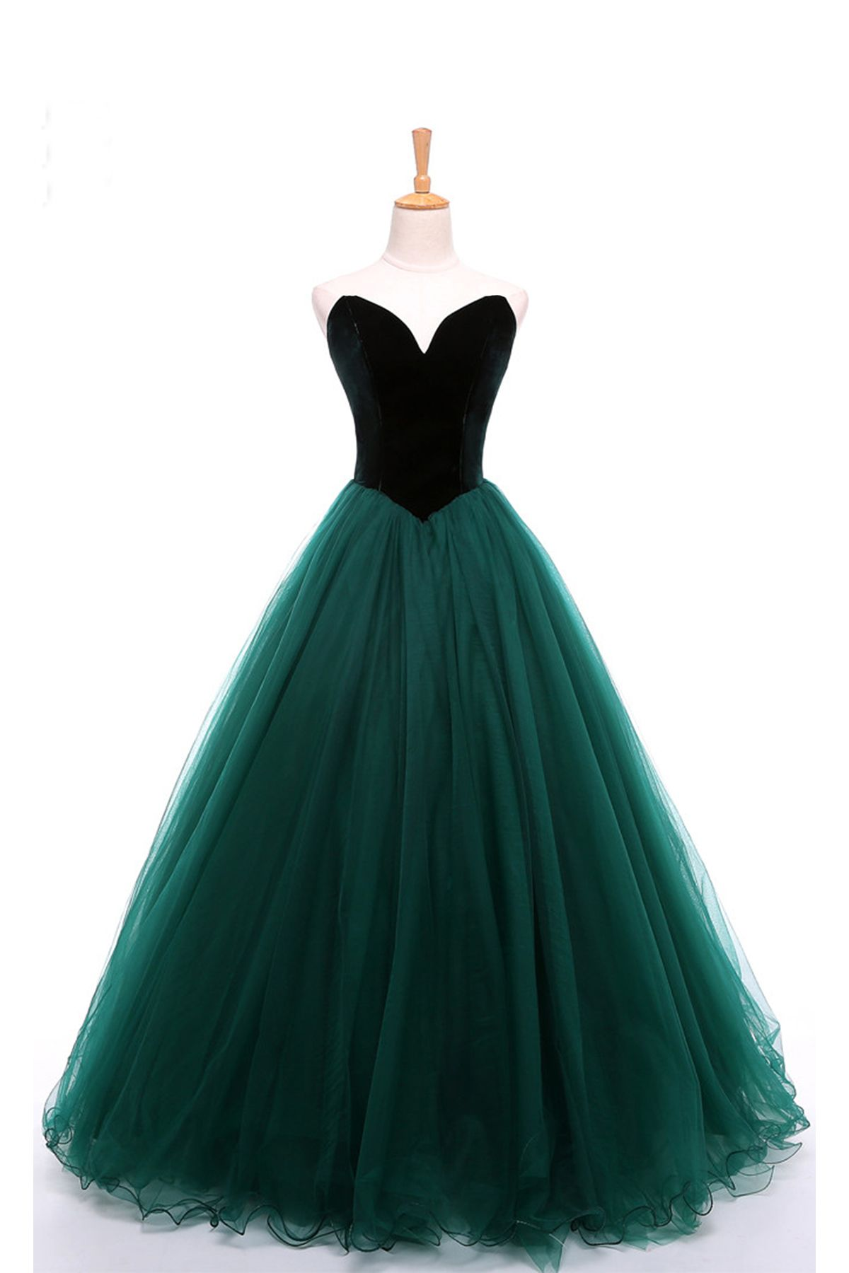 Sweetheart deep green velvet long tulle aline formal prom dress