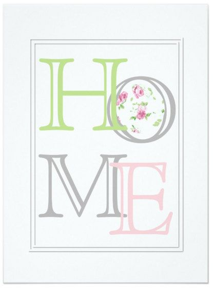 Pink Green and Grey Home Pastel Print by ChicCountryUK on Etsy