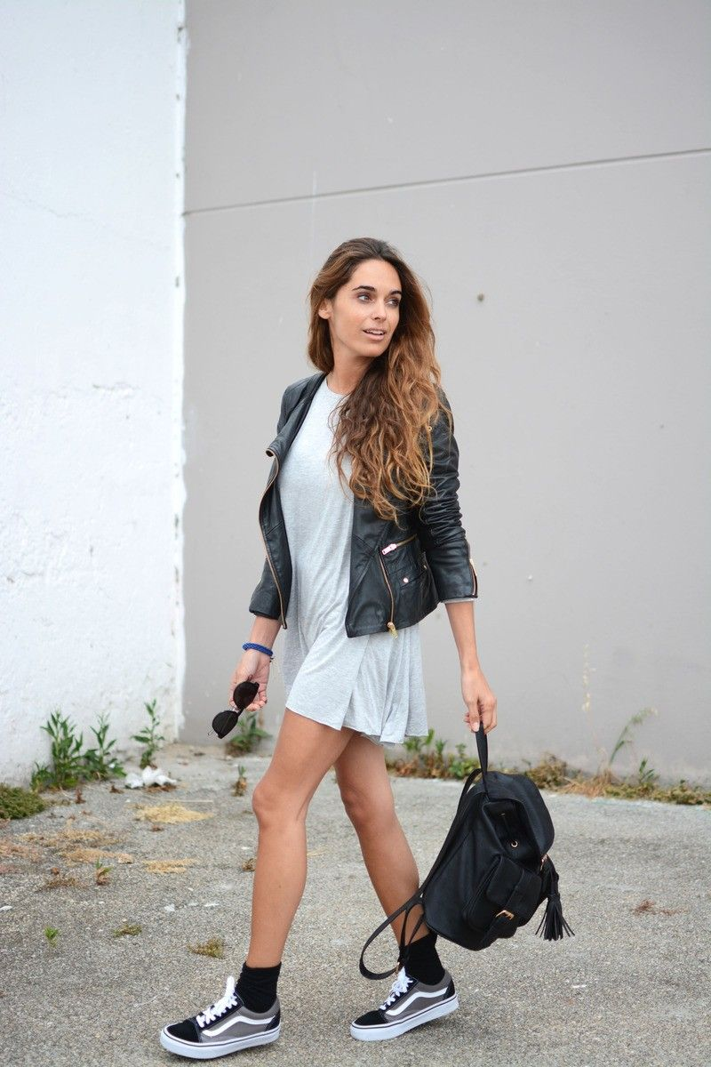 Leather JAcket + Basic Grey Dress + Vans Sneakers