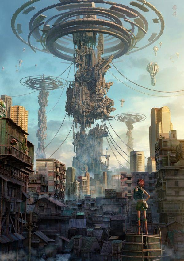 The Area 0th By Ruidan Lv Futuristic City Fantasy Landscape Cyberpunk Art