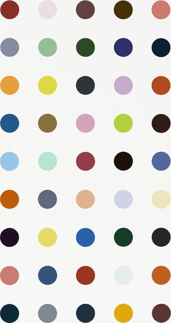 "Ornidazole, 2010, by Damien Hirst | Damien Hirst first came to public attention in London in 1988 when he conceived and curated ""Freeze,"" an exhibition in a disused warehouse that showed his work and that of his friends and fellow students at Goldsmiths College. #hirst #dots #pattern #color #painting"