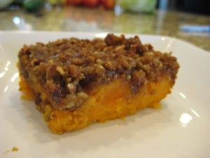 Sweet Potato Casserole (From Matts Mom)    6 cups sweet potatoes, cooked and mashed  1 /2 cup butter  2 eggs beaten  1 teaspoon vanilla  1 can sweet condensed milk  Mix together and put in a baking dish.    Topping    1 cup brown sugar  1/2 cup flour  1/3 cup butter  1 cup nuts  Mix well, sprinkle on top of sweet potatoes, Bake 350 for 25-35 min.