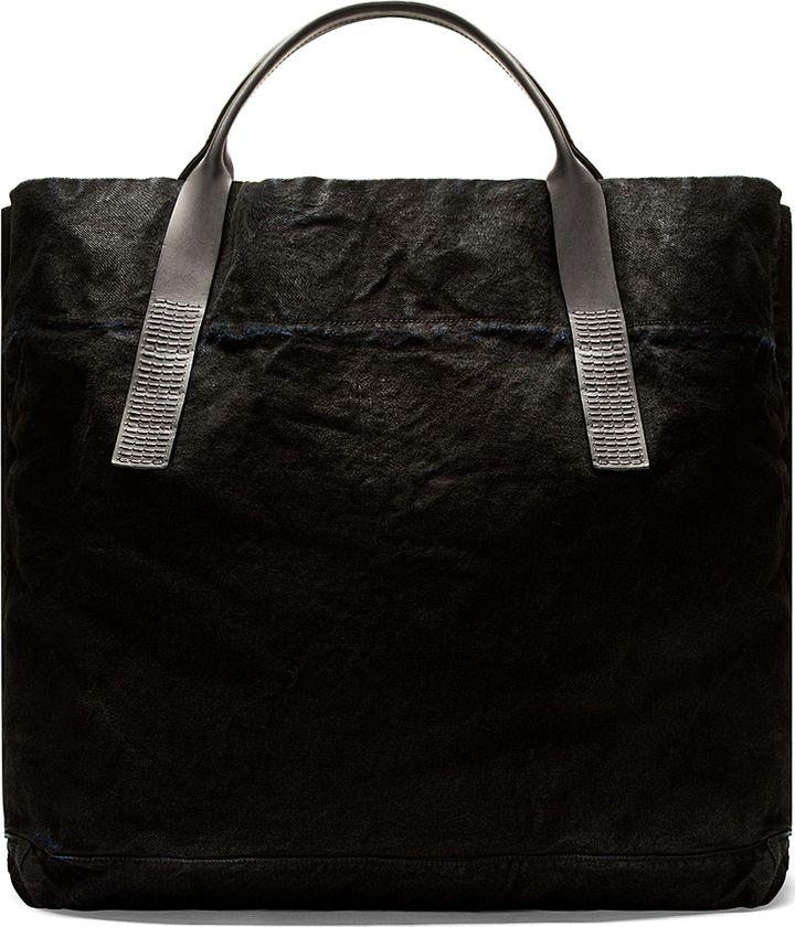 af8d72a059 Rick Owens Drkshdw Black Denim Leather Oversize Tote Black Leather Tote Bag
