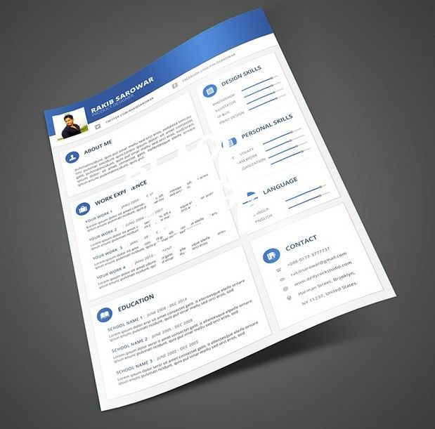 Download Free Blue Material Design Resume Mockup PSD Under The Mockups Categoryies At TitanUICoM
