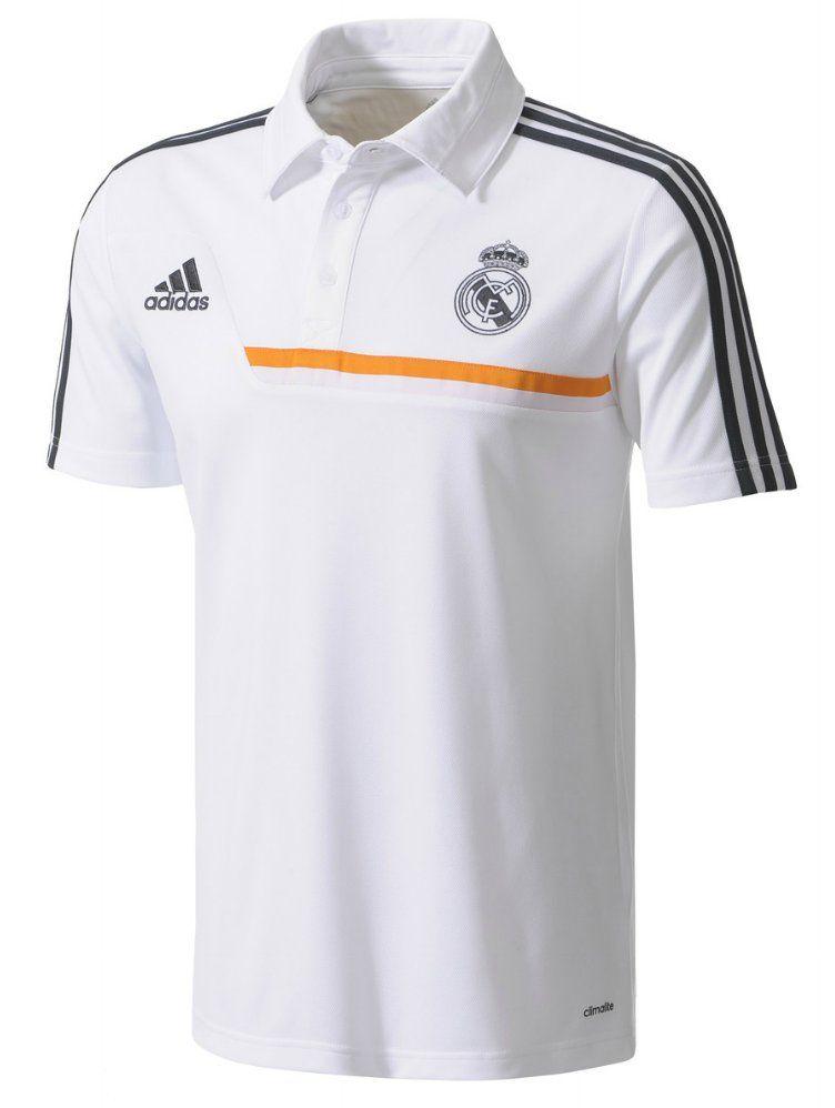 f13c30abaa2 Adidas Real Madrid White Soccer Polo Shirt 2013 - 2014   Football ...