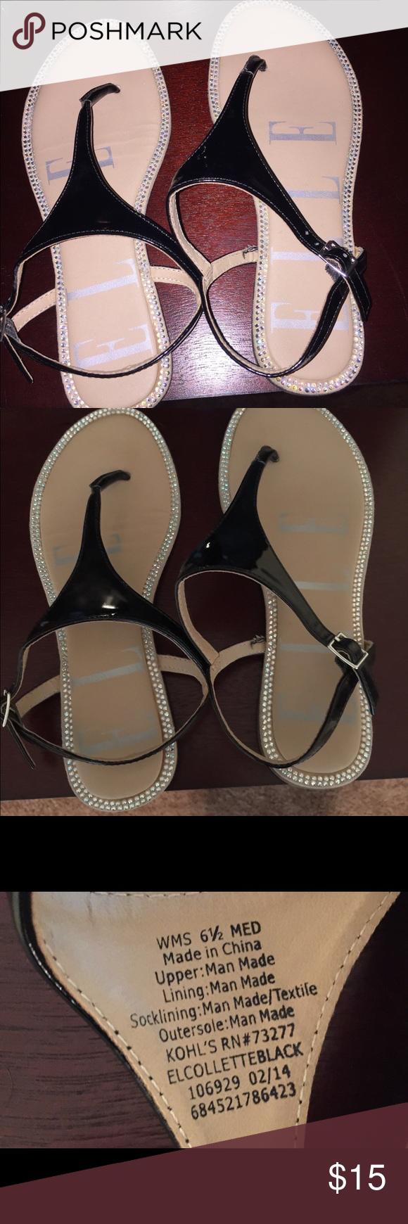 Elle Black & Rhinestone Sandals Size 6.5 Women's. Super cute Elle Sandals Size 6.5 Women's. Elle Shoes Sandals