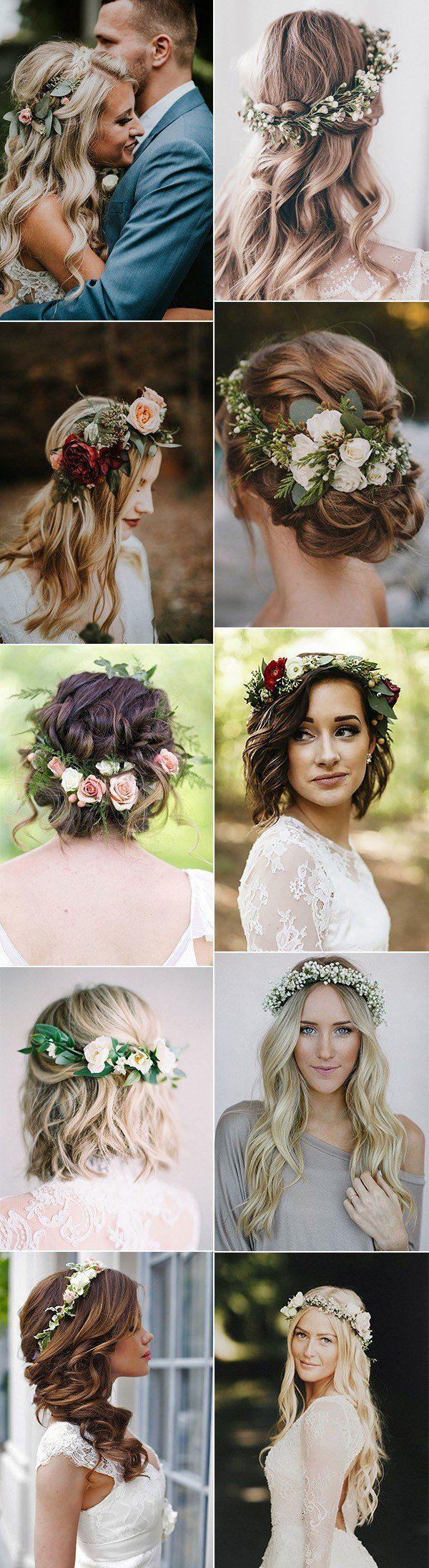 5 wunderschöne Hochzeit Frisuren mit Blumenkrone - Madame Friisuren #diyhairstyles