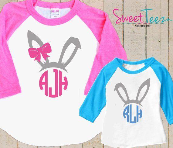 d5ad37b6f628c Monogram Easter Shirt Set Easter Bunny Ears Shirt SET Personalized ...