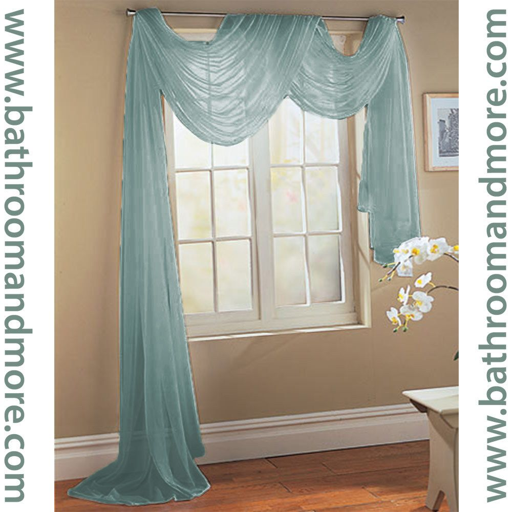 Window Scarf 3 Dusty Blue Sheer Voile Window Scarf