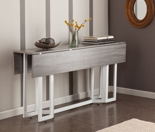 Wood Drop Leaf Dining Table Side Folding Console End Modern
